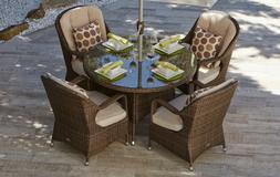 5 Piece Patio Wicker Round Dining Set with Cushions Outdoor