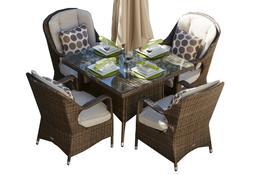 5 Piece Patio Wicker Square Dining Table Set with Cushions O