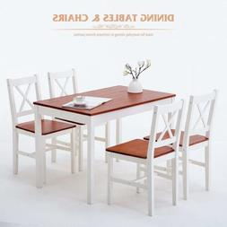 5 Piece Pine Wood Dining Set Rectangular Restaurant Dining R