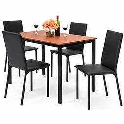 5-Piece Rectangle Dining Table Home Furniture Set W/ 4 Faux