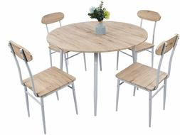 5-Piece Round Dining Set Country Style Kitchen Table and Cha