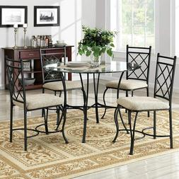 5 Piece Round Dining Table and Chairs Set Glass Top Kitchen
