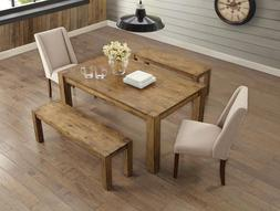5 Piece Rustic Brown Dining Table Bench Set Home Living Furn