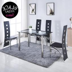 5 piece set 4 black leather chairs