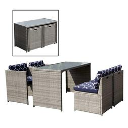 5 Piece Wicker Furniture Set Outdoor Dining Set Cushioned Pa