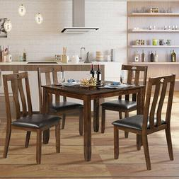 5-Piece Wood Dining Square Table Chair Set w/ 4 Upholstered