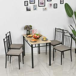 HOMCOM 5 Pieces Dining Set 1 Table 4 Chairs Cushion Seat Woo
