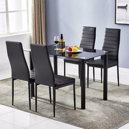 5 PIECES DINING TABLE BLACK GLASS TABLE AND 4 CHAIRS FAUX LE