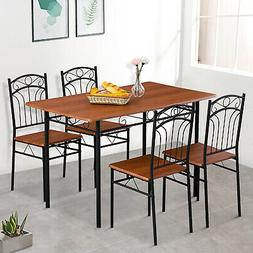 5 Pieces Dining Table Set Desk w/ 4 Chairs Wood Top Kitchen