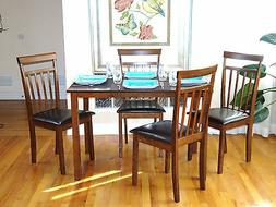 5 Psc Dining Kitchen Set Rectangular Table 4 Warm Chairs Bre