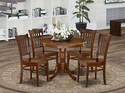 5pc Antique dinette set round pedestal kitchen table with 4