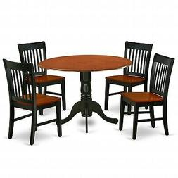 5pc dinette kitchen dining set round table with 4 wood seat