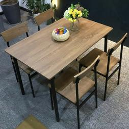 5PC Wooden Dining Table Set 4 Chairs Kitchen Room Seat Break