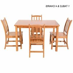 Hot 5 Piece Dining Table Set Bamboo Kitchen Breakfast Furnit