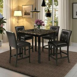 5PCS Counter Height Dining Sets Home Square Dining Table w/4