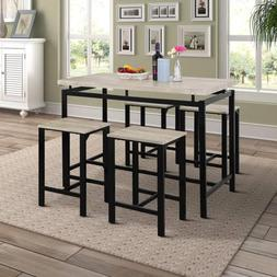 5PCS Counter Height Pub Table Set/Dining Table with 4 Chairs