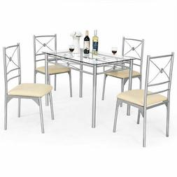 5Pcs Dining Set Tempered Glass Top Table & 4 Chairs Kitchen