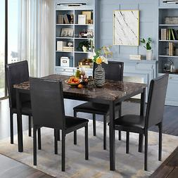 5Pcs Dining Table Set for 4 Persons, Kitchen Room Solid Wood