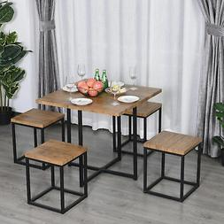 HOMCOM 5pcs Kitchen Dining Table Chair Set Square Board Spac