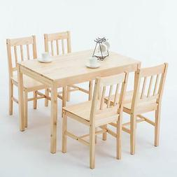 5pcs Pine Wood Dining Table Set Desk with 4 Chairs Kitchen D