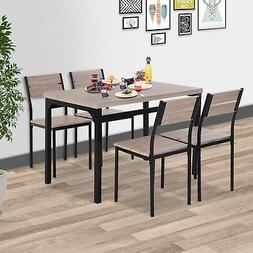 5pcs Wooden Bar Dining Set Counter Height Table Chair Home F