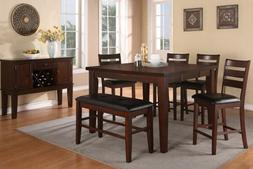 6 pc antique walnut finish wood counter height dining table