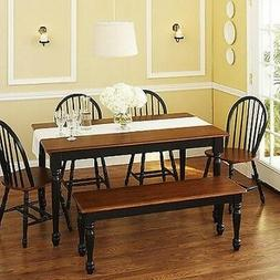 6 pc Black Dining Set Dinette Sets Bench Chair Table Kitchen