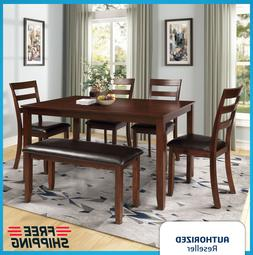 6 pcs Dining Set Table w/ 4 Ladder Chairs and Bench Wood & F