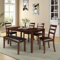 6 pcs Dining Set  With 4 Ladder Chairs and Bench Wood&Faux L
