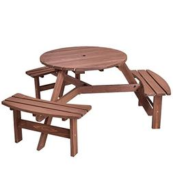 Giantex 6 Person Wooden Picnic Table Set with Wood Bench, wi