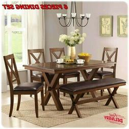 6 Piece Dining Room Table & Chairs Set Farmhouse Wooden Kitc