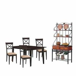 6 Piece Dining Set with Bakers Rack