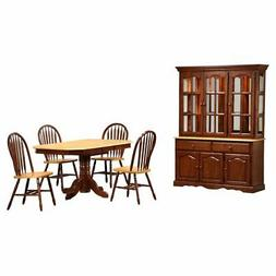 Sunset Trading 6-Piece Pedestal Extension Dining Set with Ch
