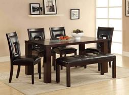 6pc Dining Set Contemporary Glass Insert Table Top Espresso