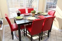 7 pc Red Leather 6 Person Table and Chairs red Dining Dinett