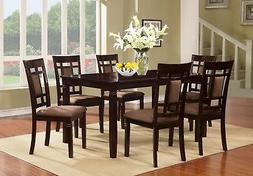 7 PC Brand New Cappuccino Finish Solid Wood Dining Table Set