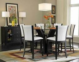 7 PC ESPRESSO GLASS TOP FLARED TULIP COUNTER HEIGHT DINING T