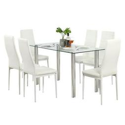 7 PCS Dining Set Glass Metal Table and 6 Chairs Kitchen Dini