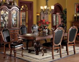 7PC FORMAL CHATEAU DE VILLE CHERRY FINISH CARVED WOOD LEATHE