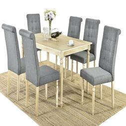 7pc Wood Rectangular Dining Table Set 6 High Back Upholstere