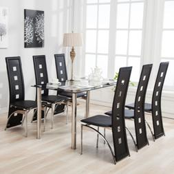 Mecor 7Pcs Dining Table Set 6 Chairs Glass Metal Kitchen Roo