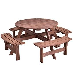 Giantex 8 Person Wooden Picnic Table Set with Wood Bench, wi
