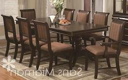 "9 Piece Formal ""Bordeaux"" Dining Room Set Table w/18"" Leaf,"