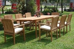 "9-Piece Outdoor Teak Dining Set: 83"" Rectangle Table, 8 St"
