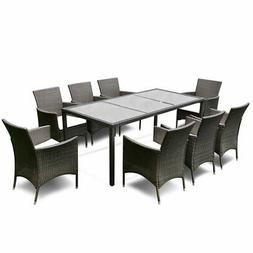 9pcs patio furniture set dining brown rattan