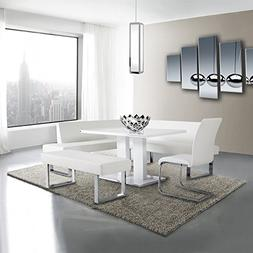 Armen Living LCAMDIWHTO Amanda Dining Table with White and B