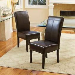 Best Selling Chocolate Brown T-Stitch Leather Dining Chair,