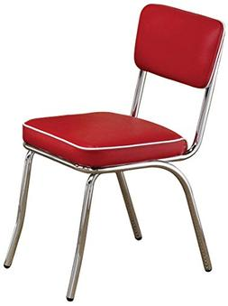 Retro Side Chairs with Black Cushion Chrome and Red