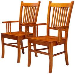 Marbrisa Slat Back Arm Chairs Sienna Brown