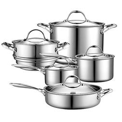 Cooks Standard 10 Piece Multi-Ply Clad Cookware Set, Stainle